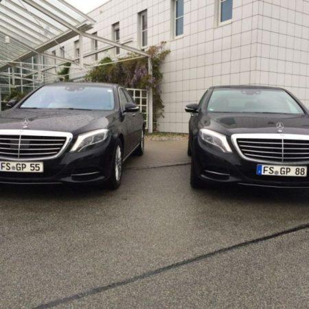 2 schwarze Mercedes S-Klassen Limousinenservice München